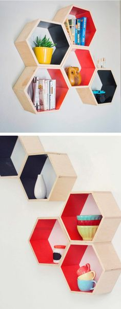6 Positive ideas: Farmhouse Floating Shelf Woods floating shelves design how to build.Floating Shelf With Drawer Home Office floating shelves laundry washer and dryer.Floating Shelves With Pictures Fire Places. Honeycomb Shelves, Hexagon Shelves, Diy Furniture, Furniture Design, Modern Furniture, Diy Home Decor, Room Decor, Shelf Design, Wall Shelves