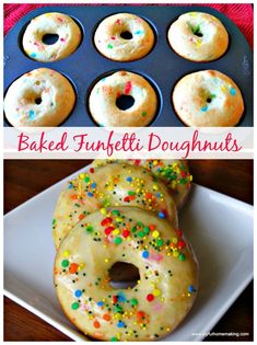 Funfetti Doughnuts - easy, delicious and colorful! Easter Recipes, Brunch Recipes, Breakfast Recipes, Dessert Recipes, Free Breakfast, Donut Recipes, Cooking Recipes, Yummy Recipes, Cooking Tips
