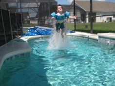 My friend Jennifer's picture I love this shot. My son was 5 and the time and it really looks like he went airborne from the pool. Super Swimmer to the rescue! Love Is Gone, My Love, Hayward Pool, Short Trip, Heart For Kids, Free Time, Travel With Kids, Giveaways, Cool Kids