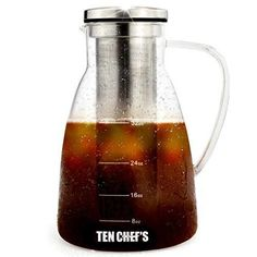 TenChef's Cold Brew Coffee Maker and Hyper Tea Infuser (32 oz) - 1 Liter Glass Pitcher with Removable Stainless Steel Filter Chiller - Professional Quality BPA-Free - Resistant Borosilicate Glass