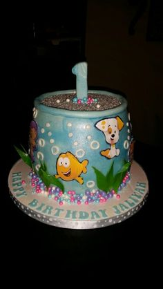 Bubble Guppies in a Fish Bowl Cake