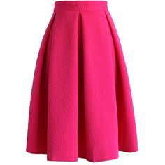 Chicwish Reminisce From Rose Embossed Midi Skirt in Hot Pink ($42) ❤ liked on Polyvore featuring skirts, pink, midi skirt, pink midi skirt, midi flare skirt, calf length skirts and flared skirt