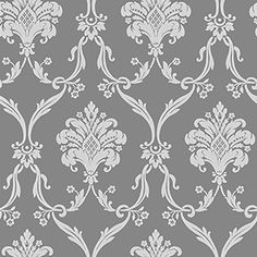 SILVER AND GREY DAMASK/Gray Damask Wallpaper