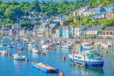 Fishing Boats in Cornish Harbour Blue Sea Wall by cornwallshop