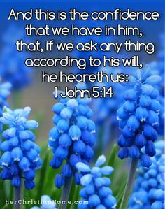 """And this is the confidence that we have in him, that, if we ask any thing according to his will, he heareth us:"" ~ I John 5:14   #prayer #Bibleverses #kjv"