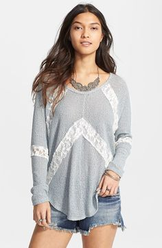 Free People 'Flying V' Lace Inset Pullover   Nordstrom