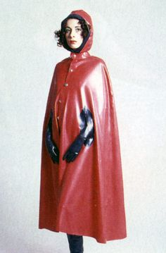 Hooded red rubber cape