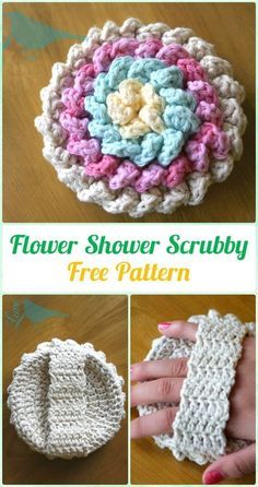 Crochet Flower Shower Scrubby Free Pattern - Crochet Spa Gift Ideas Free Patterns by wanda.g.king