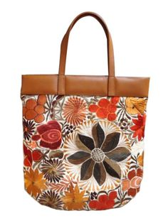 Floral embroidered Mayakoba shoulder bag with honey tone leather