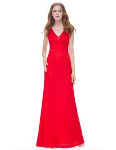 Rotes Langes V Ausschnitt Abendkleid Virginie