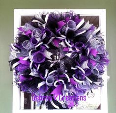 Everyday wreath, Front door wreath, Winter wreath, New Year wreath, Purple… Mesh Ribbon Wreaths, Christmas Mesh Wreaths, Holiday Wreaths, Winter Wreaths, Floral Wreaths, Burlap Wreaths, Spring Wreaths, Prim Christmas, Wreath Crafts