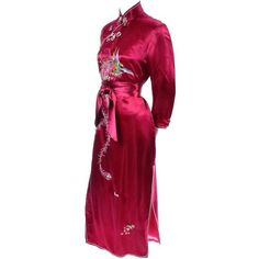 Chinese Vintage Red Silk Cheongsam Dress Fine Embroidery Peacock Bird... ❤ liked on Polyvore featuring dresses, gowns, vintage evening gowns, red ball gown, vintage gowns, vintage ball gowns and vintage evening dresses