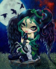 Perched & Sat Raven Fairy gothic art 8 PRINT Jasmine Becket-Griffith Strangeling