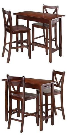 Sets 98478: 3 Piece Set Breakfast Table With V Back Counter Stools Wood/