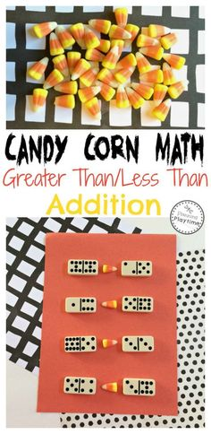 Candy Corn Math Activity - Dominoes Greater Than Less Than and Addition.