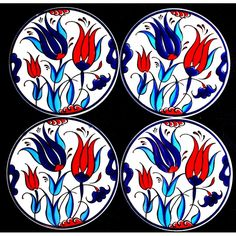 Set of 4 Hand Painted Ceramic Coasters 10 Cm - Turkish The Light