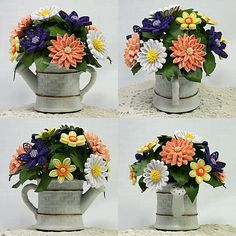 A Spring Bouquet Quilled Paper Art 3-D Floral Arrangement, Comes in a Ceramic Watering Can. Makes a Great Gift.