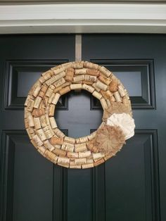 Wine cork wreath with burlap flower.
