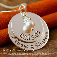 Hand Stamped Anniversary Necklace - Personalized Sterling Silver Jewelry - My Anniversary with Pearl Deluxe on Etsy, $65.00