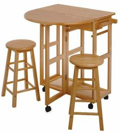 Winsome Wood Beachwood Breakfast Bar by Winsome. $113.70. Create a beautiful little eating nook or food prep space with this Winsome Wood beechwood breakfast bar. Includes 2 round stools and a bar with a foldable table leaf; constructed of solid beechwood, the bar/cart is versatile and attractive. Measures 31-1/2-inch wide by 29-5/8-inch deep by 33-inch high; weighs approximately 58 pounds; some easy assembly required on arrival. Very efficient and space-saving, the stools nest u...