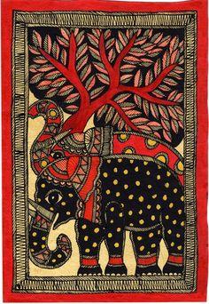 Madhubani Painting – Elephants in Color Subject: Madhubani Painting Paint Material: Opaque natural watercolors Base Material: Handmade Paper (u Madhubani Paintings Peacock, Kalamkari Painting, Madhubani Art, Indian Art Paintings, Abstract Paintings, Oil Paintings, Gond Painting, Mural Painting, Mural Art