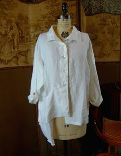 2010 Architectural Top Shirt Makeover, Recycled Clothing, Altered Couture, White Shirts, Clothing Ideas, Magnolia, Armoire, Chef Jackets, Upcycle