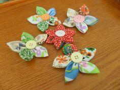 Yo-Yo /Fabric flowers-Handmade 5 multicolor fabric flower appliques.Handmade craft/project/scrapbooking supply.