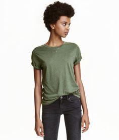 Jersey Top | Khaki green | Ladies | H&M US