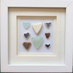 Sea glass love heart picture framed beach glass hearts
