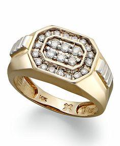 Men's Diamond Ring, 14k Gold Diamond Rectangle Ring (1/2 ct. t.w.)