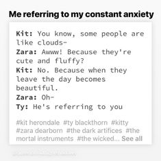 Definitely referring to Zara. Shadowhunter Quotes, Lady Midnight, Cassie Clare, Cassandra Clare Books, Shadowhunters The Mortal Instruments, Clace, The Dark Artifices, The Infernal Devices, Shadow Hunters