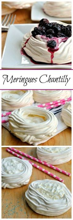 Meringues Chantilly are light, sweet, and beautiful. Crispy meringue cups filled with smooth whipped cream and stewed berries make this dessert an elegant treat!