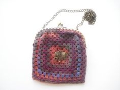 Colorful Hand Knitted Wool Purse With Elephant by nilknitting