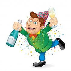 Feestelijke dronken man met een Party Hat Holding Fles champagne Funny Vector voor Kerstmis en Nieuwjaar.