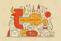 Halloween party line flat design card with holidays symbols. Vector illustrations and high quality JPEG ready to download.