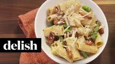 Cheesy Pasta. Need we say more? DIRECTIONS 1. In a large pot over medium heat, cook bacon until crispy. Transfer to a paper towel-lined plate and drain half ...