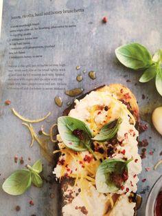 Lemon ricotta basil honey bruschetta