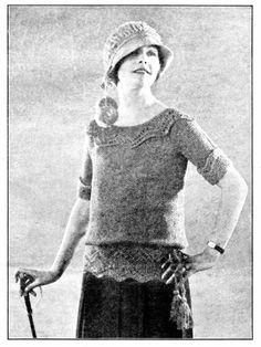 Vintage Knit Women's Sweater Pattern 1920's Downton Abbey Flapper Crochet Hat Lace Knit