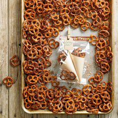 #2: Sweeten Pretzels. No need to pick between salty and sweet for your next snack: Salted pretzels meet cinnamon-sugar goodness for a simple, delicious addition to any get-together.