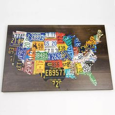 USA License Plate MAP Wall ART Picture 36 x 24 Glenna Jean Hanging Bedroom Wood   eBay $152