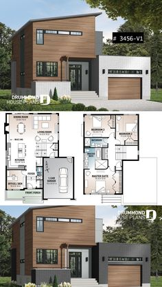 Striking 3 to 4 bedroom contemporary house plan with home office, open floor plan with fireplace and garage