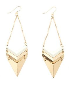 Linked Geo Dangle Earrings: Charlotte Russe