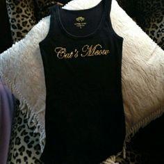 Victoria Secret Cats meow black tank Victoria's secret black tank.  Gold glittery cat's meow on front Tops Tank Tops