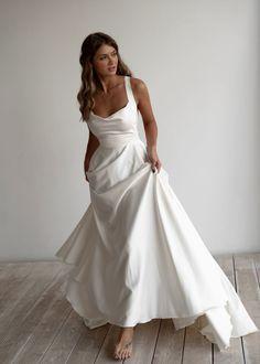 Wedding Dress Black, Minimalist Wedding Dresses, Elegant Wedding Dress, Best Wedding Dresses, Bridal Dresses, Satin Wedding Gowns, Boho Wedding, Bhldn Wedding Dress, Modest Wedding