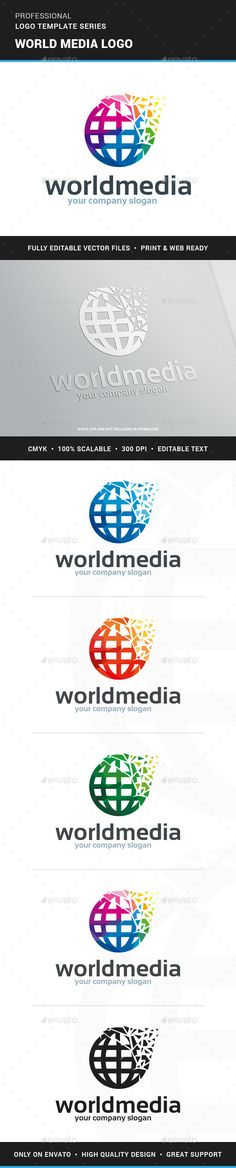 World Media  - Logo Design Template Vector #logotype Download it here: http://graphicriver.net/item/world-media-logo-template/12966182?s_rank=653?ref=nesto