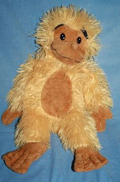 "Classic Toy Co plush Monkey Gold Stringy stuffed animal ape 18"" Brown feet face #ClassicToy"