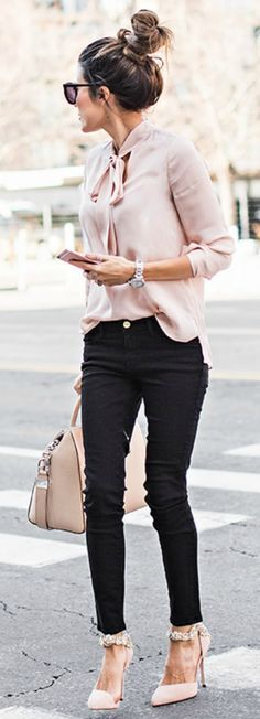 Pale Blush Blouse, Black Skinnies & Messy Top knot.