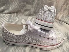 Wedding Prom Shoes Size 3-9 Covered With Pearls & Crystals Trainers Pumps Bling