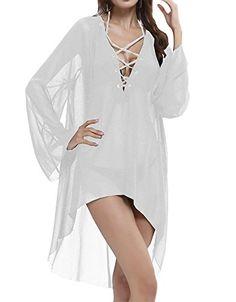 041c8c751c Ashlen Women's Lace-up Chiffon Sheer Bikini Cover Up Dress Blue at Amazon  Women's Clothing store: