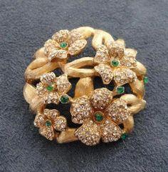 Alice Caviness Signed Rhinestone Floral Vintage Brooch   eBay